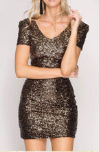 Short sleeve short dress fully covered in dark gold sequins with V-neck and V-back and fully lined inside