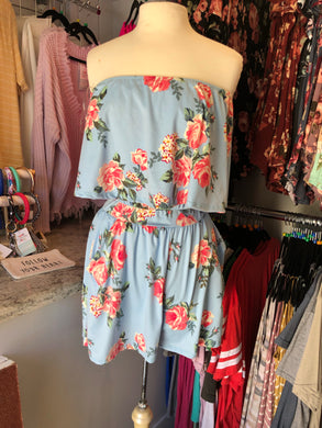 Light Blue Romper With Pockets