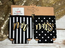 Mr. striped and Mrs. polka dotted beer sweater koozie set