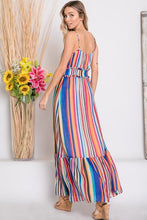 back view of mulit-color stripe serape maxi with adjustable spaghetti strapes, smocked waist, and ruffle hem