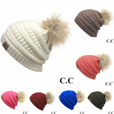 Solid C.C. Beanie With Faux Fur Pom