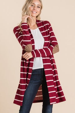 Burgundy & Ivory Stripe Elbow Patch Cardigan
