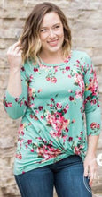 Mint Floral 3/4 Sleeve Twist Hem Top