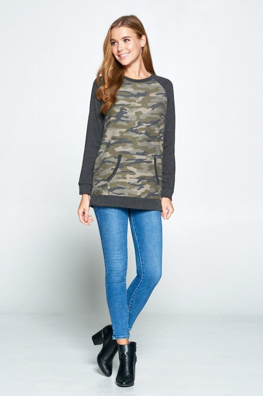 long sleeve camo camouflage with grey gray long sleeves. kangaroo pouch in front and elbow patches