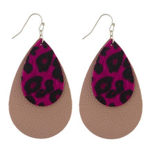 light weight double teardrop dangle earrings with top layer being a faux fur pink leopard and bottom and tan mocha brown