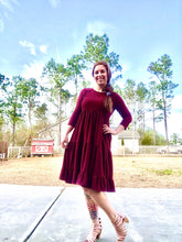 Burgundy Long Sleeve Tiered Swing Dress with Textured Dots