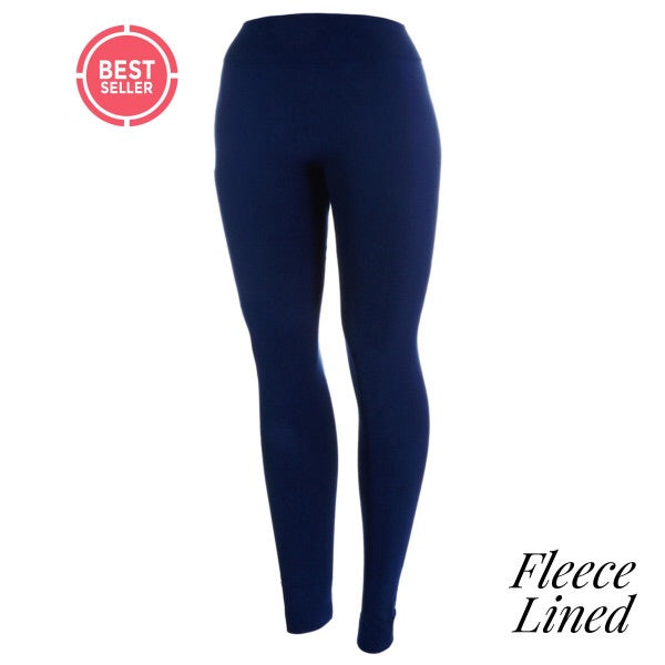full- length one size- Women's 0-14 and plus size- women's 14-20 fleece lined Navy blue leggings are so soft and stretchy. smooth fabric, 92% Nylon 8% spandex