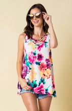 Watercolor Floral Cross Front Top