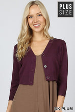 Dark plum plus size cropped bolero cardigan with buttons. Perfect for church or over a maxi dress. Ultra high quality