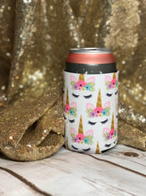 unicorn print beer sweater koozie