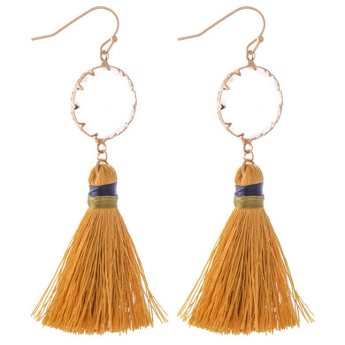 Mustard Tassel Clear Crystal Earrings