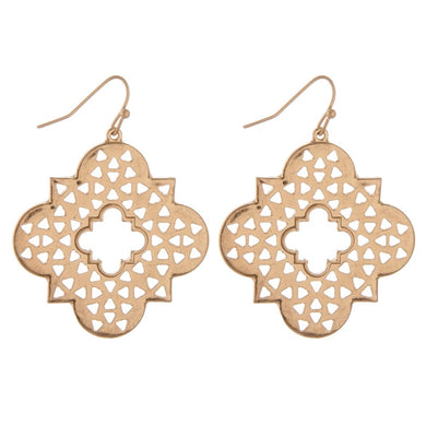 Gold Triangle Cut Out Quatrefoil Earrings