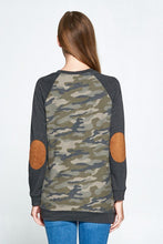 back view of long sleeve camo camouflage with grey gray long sleeves. kangaroo pouch in front and elbow patches