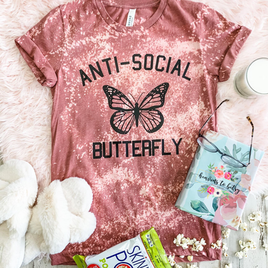 Anti-Social Butterfly Acid Wash Tee