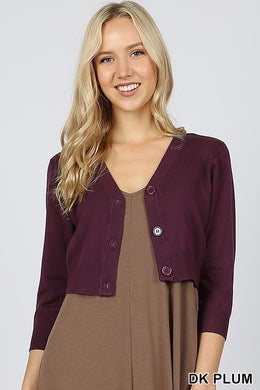 Dark plum 3/4 sleeve cropped bolero cardigan with buttons. Perfect for church or over a maxi dress. Ultra high quality