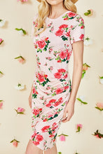 Pink Rose Floral Ruched Side Bodycon Dress