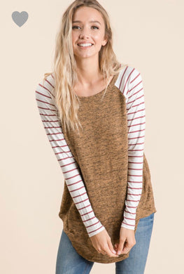 long sleeve camel rust solid body with mauve and white striped long sleeves. round neck line and hem