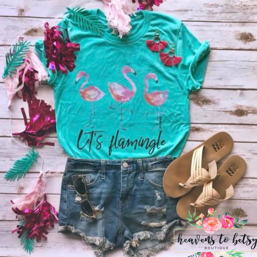 blue short sleeve tee with 3 adorable pink flamingos and lets flamingle across the bottom