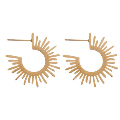Thin gold metal cut out starburst bohemian hoop earrings