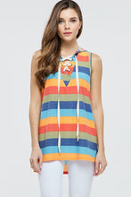 multi color striped sleeveless hoodie with lace up tie neck. light weight soft material