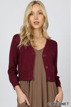 Burgundy cropped bolero cardigan with buttons. Perfect for church or over a maxi dress. Ultra high quality