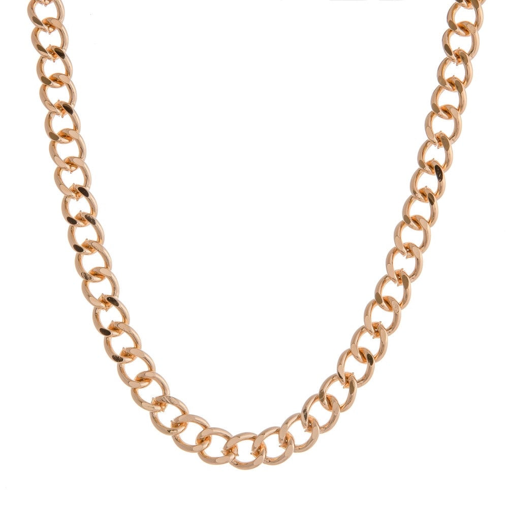Long chunky gold cuban linked necklace