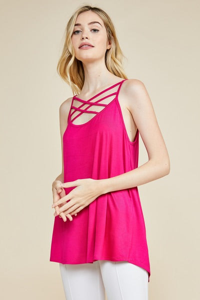 hot pink scoop neck tank top with criss cross spaghetti strap detailing
