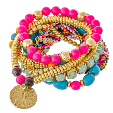 Hot Pink Beaded Loom Boho Coin Stacking Bracelet Set