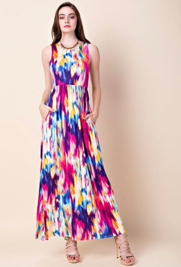 mulit color water color tie dye sleevless long maxi dress with cinched waist and pockets