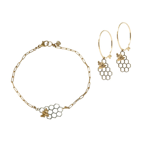 Honeycomb Bracelet & Hammered Hoop Earring Set