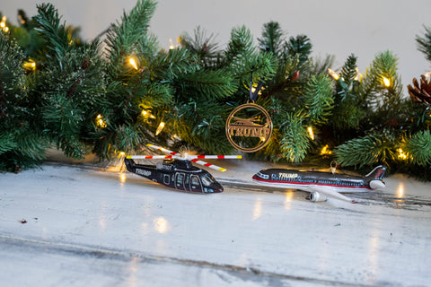 Trump Helicopter & Airplane Ornament Set