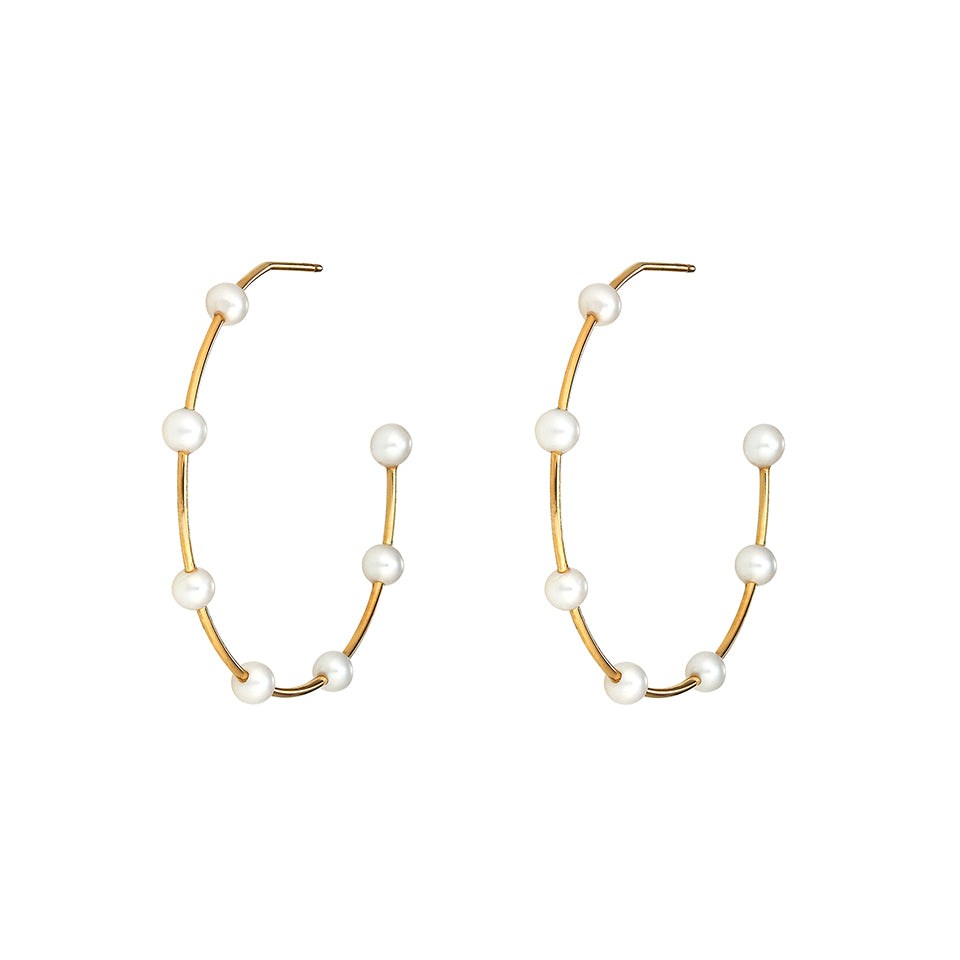 Gold Pearl Hoops Sm