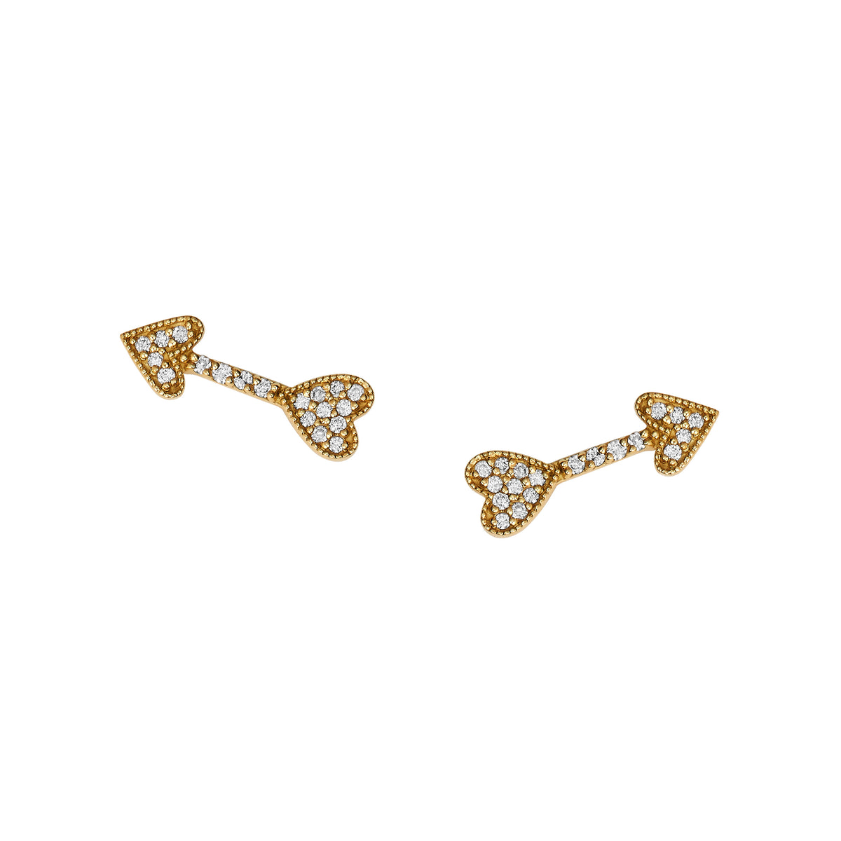 Diamond Heart Arrow Stud