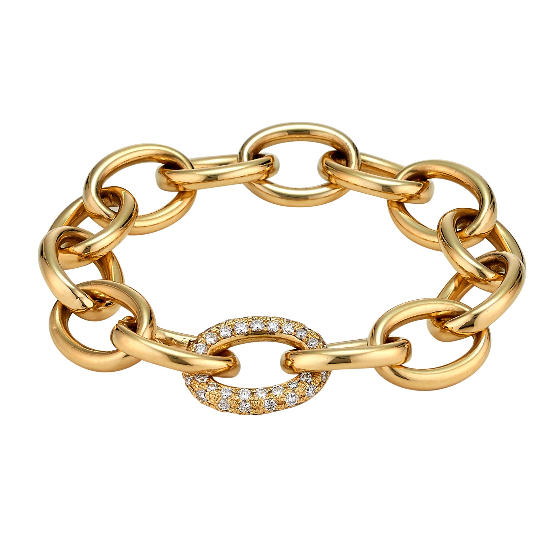 Diamond Link Gold Chain Bracelet