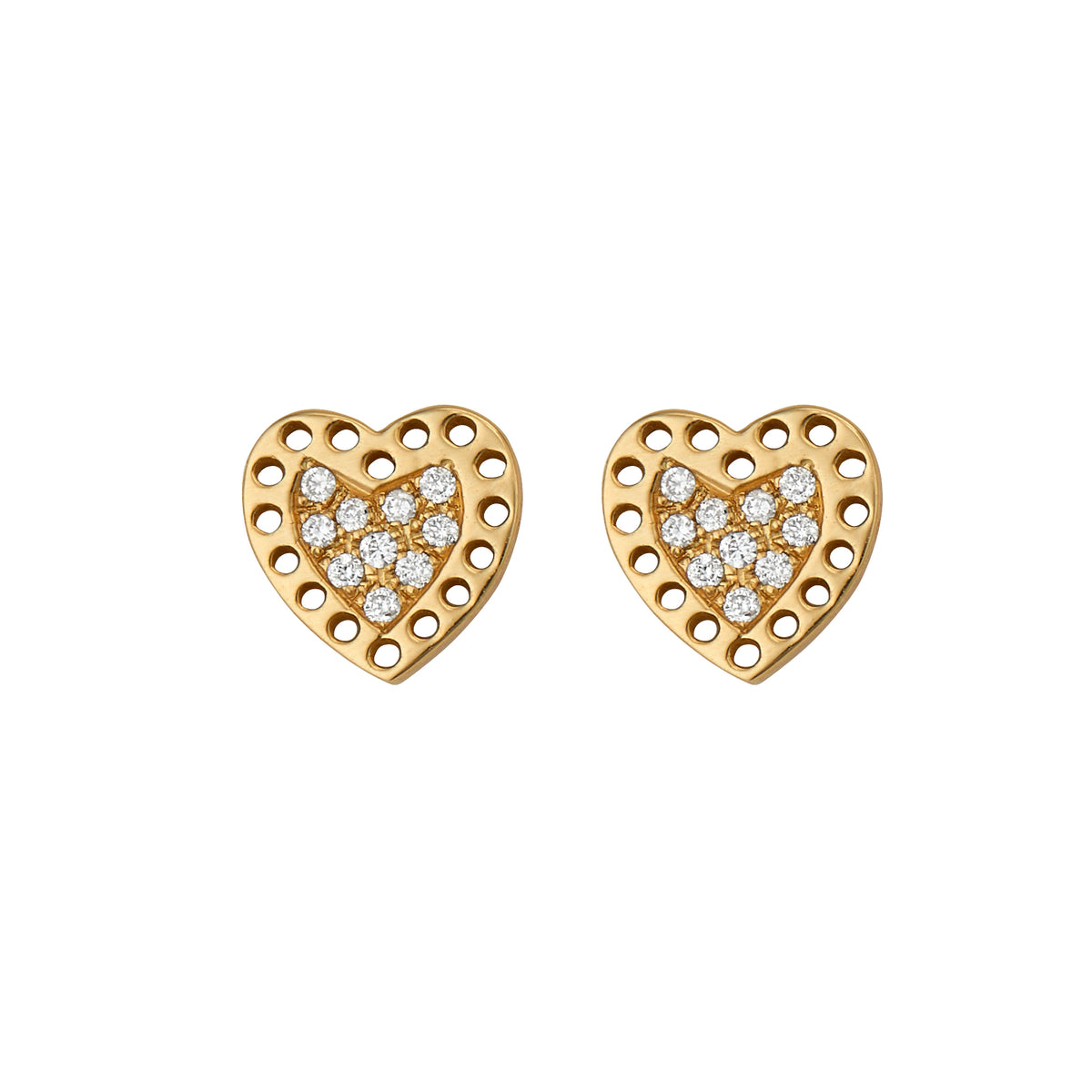 Diamond Perforated Heart Studs