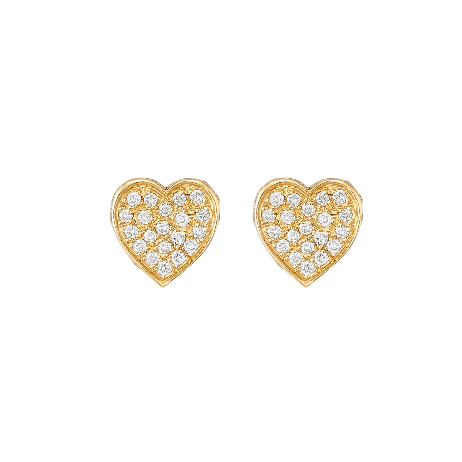 Pave Diamond Heart Studs