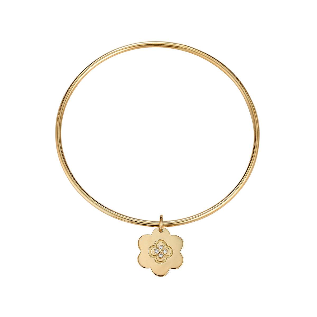 Gold Bangle with Amelie Charm