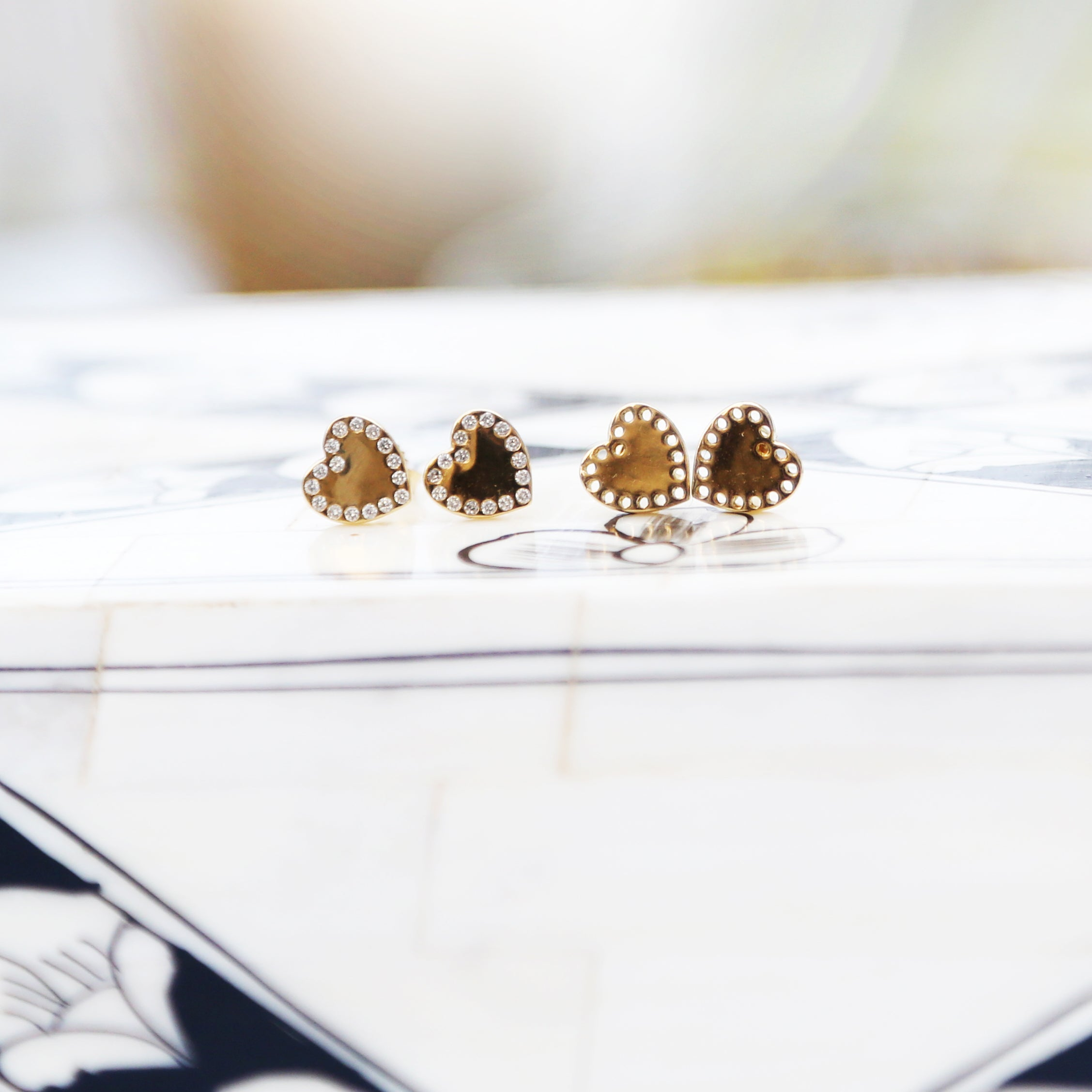 Gold Perforated Heart Studs