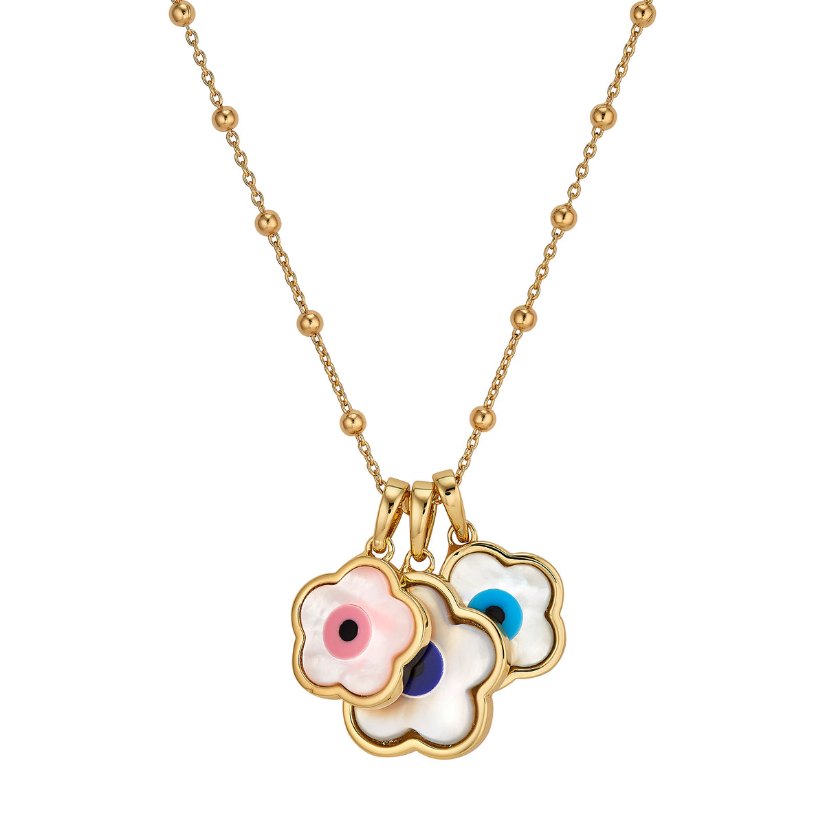 Flower Evil Eye Charm Trio + Florence Chain 18""