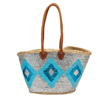 Blue Diamond Ikat Sequin Basket