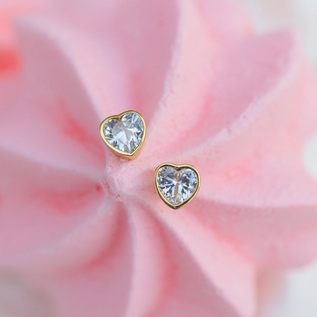 Petite Lilac Heart Studs