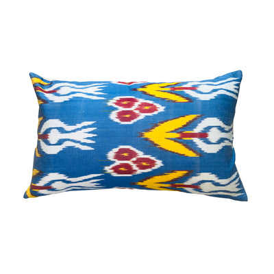 Turkish Ikat Pillow - Blue & Yellow
