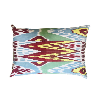 Turkish Ikat Pillow - Blue, Red & White