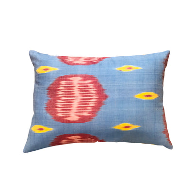 Turkish Ikat Pillow - Blue & Red
