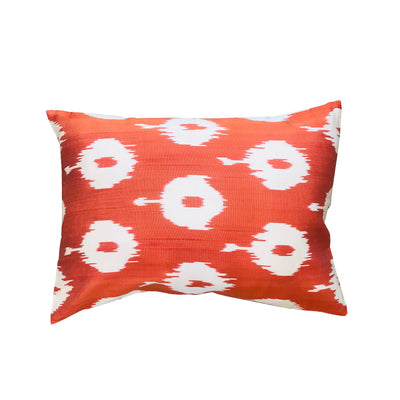 Turkish Ikat Pillow - Orange & White