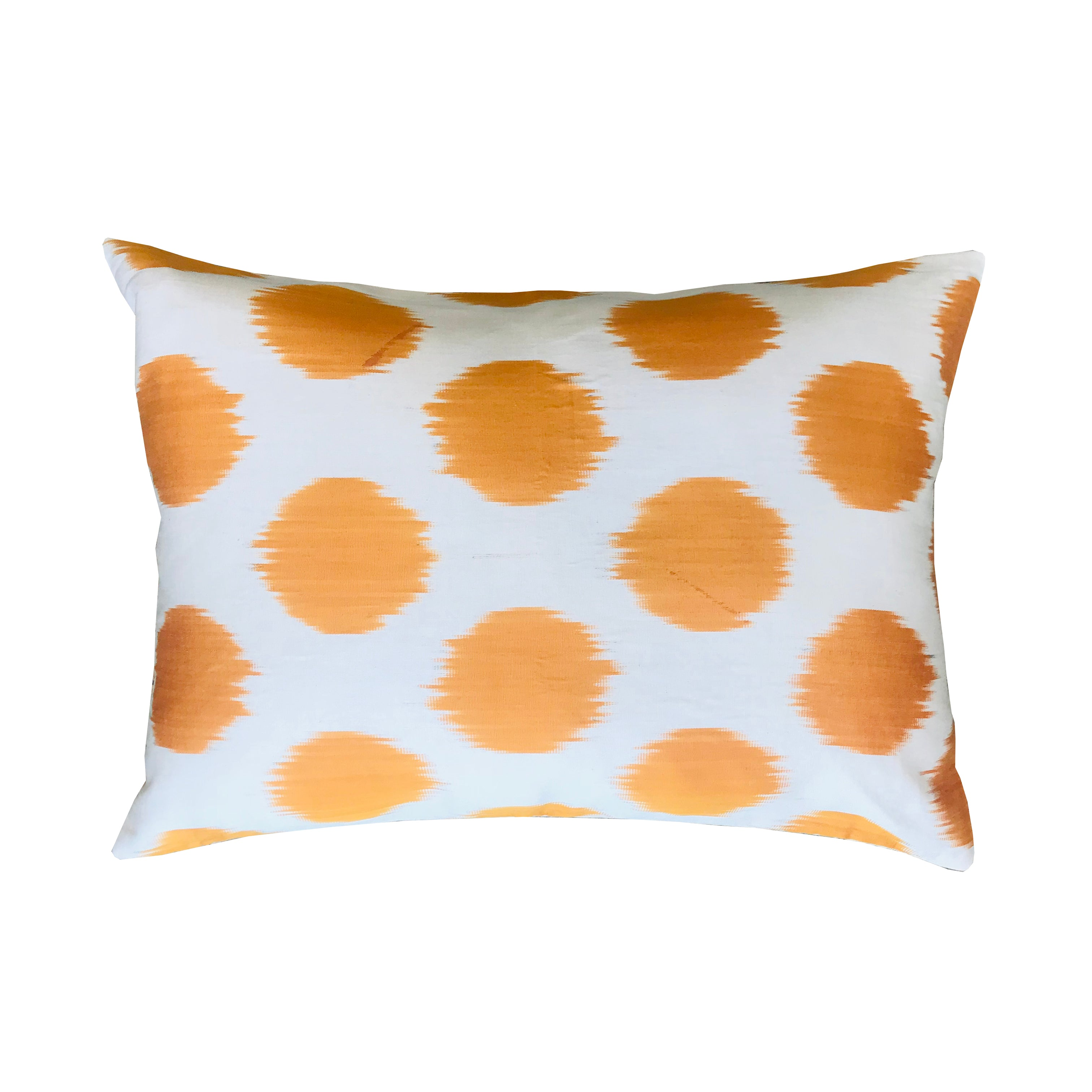 Turkish Ikat Pillow - Bright Orange & White