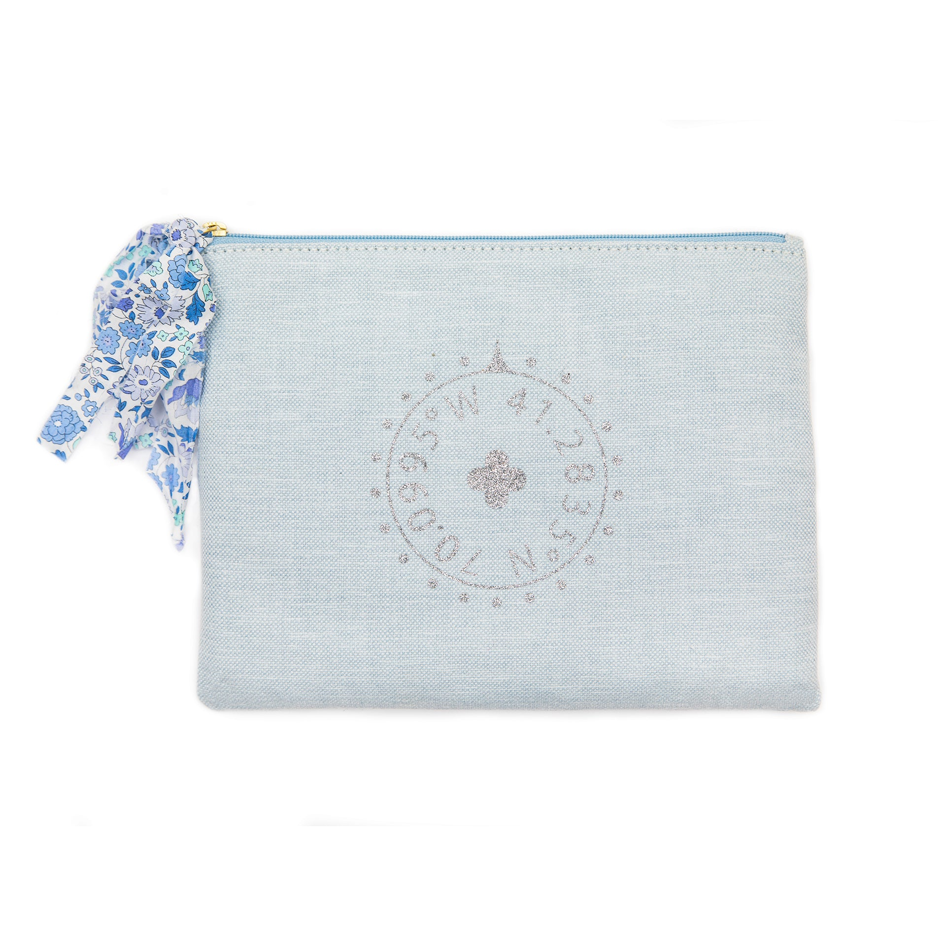 Blue Nantucket Glitter Pouch