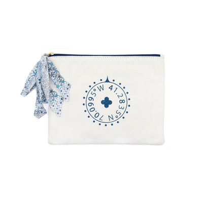 White Nantucket Glitter Pouch