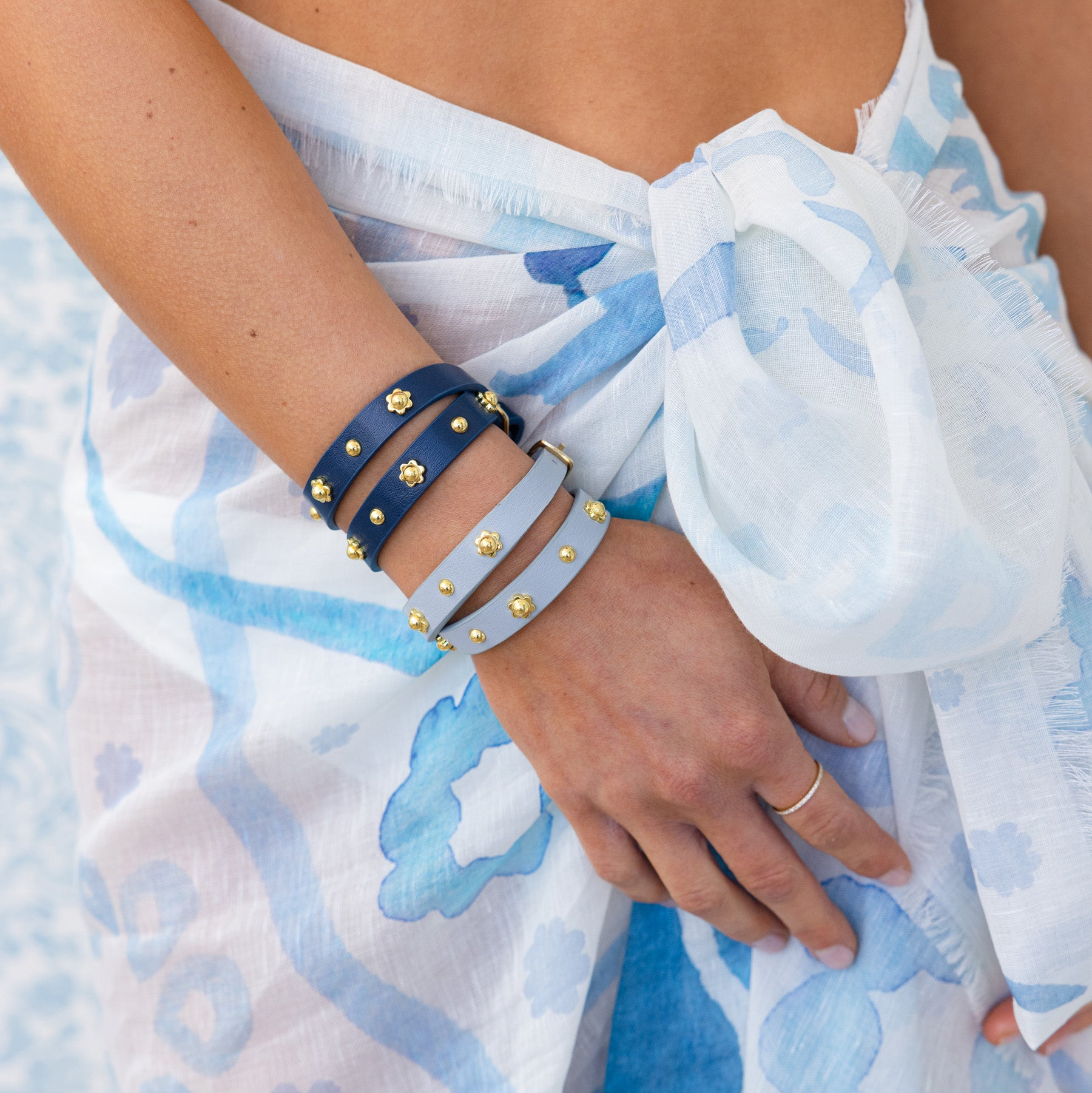 Navy Flower Studded Wrap Bracelet