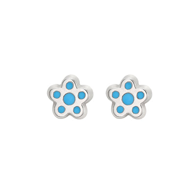 Petite Silver Flower Studs